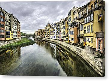 River Canvas Print - The Houses On The River Onyar In Catalonia by Marc Garrido