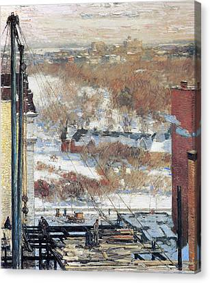The Hovel And The Skyscraper Canvas Print by Childe Hassam
