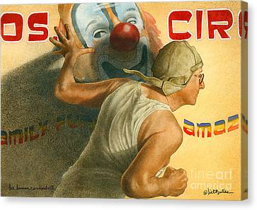 Circus Canvas Print - The Human Cannonball... by Will Bullas