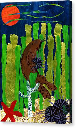 The Hungry Sea Otter By Lucas Salazar 3rd Grade Canvas Print by California Coastal Commission