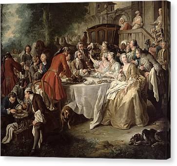 The Hunt Lunch, Detail Of The Diners Canvas Print