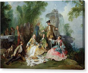 Table Cloth Canvas Print - The Hunting Party Meal, C. 1737 Oil On Canvas by Nicolas Lancret