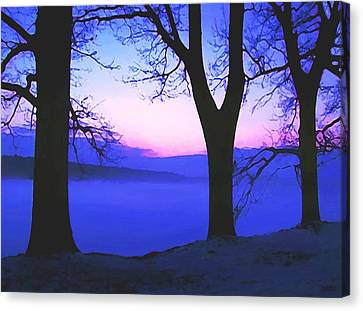 Canvas Print featuring the painting The Hush At First Light by Sophia Schmierer