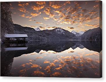 The Hut By The Lake Canvas Print by Jorge Maia