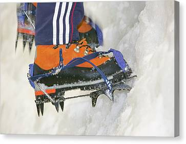 The Ice Factor Ice Climbing Wall Canvas Print by Ashley Cooper