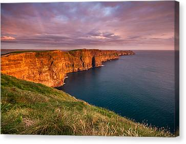 The Iconic Cliffs Of Moher At Sunset On The West Coast Of Ireland Canvas Print by Pierre Leclerc Photography