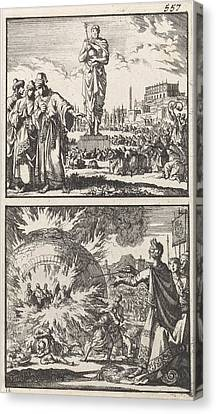 The Idol Of Nebuchadnezzar, Three Young Men In The Fiery Canvas Print by Jan Luyken And Barent Visscher And Andries Van Damme