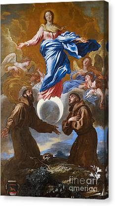 The Immaculate Conception With Saints Francis Of Assisi And Anthony Of Padua Canvas Print by Il Grechetto