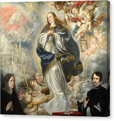 The Immaculate Conception With Two Donors Canvas Print by Juan de Valdes Leal