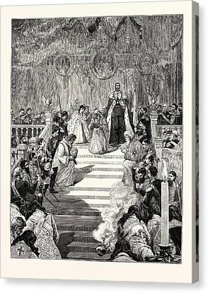 The Imperial Coronation At Moscow Prayer For The Emperor Canvas Print by English School
