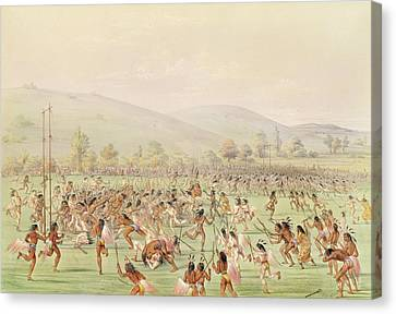 The Indian Ball Game, C.1832 Colour Litho Canvas Print by George Catlin