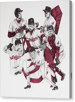 Baseball Uniform Canvas Print - The Indians' Glory Years-late 90's by Joe Lisowski