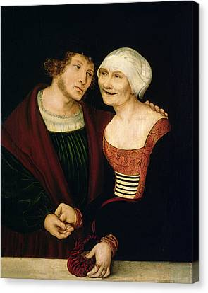 Toothless Canvas Print - The Infatuated Old Woman by Lucas, the Elder Cranach