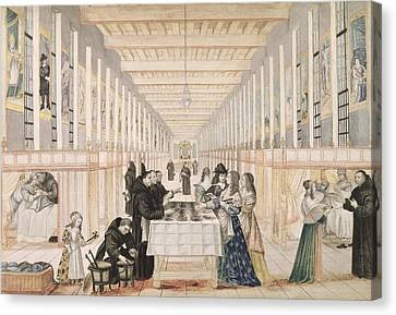 The Infirmary Of The Sisters Of Charity During A Visit Of Anne Of Austria  Canvas Print by Abraham Bosse