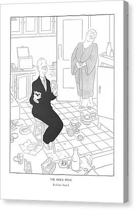 Untidy Canvas Print - The Inner Man  Bedtime Snack by Gluyas Williams