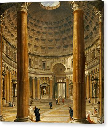 The Interior Of The Pantheon Canvas Print by Giovanni Paolo Panini