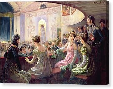The Interval At The Theatre  Canvas Print by Charles Henry Tenre