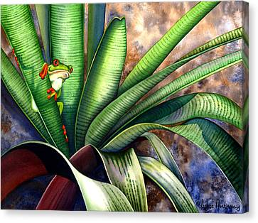 Bromeliad Canvas Print - The Intruder by Lyse Anthony