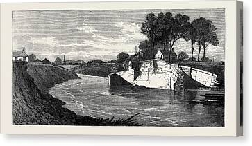 The Inundations In The Fens The Blown Sluice Canvas Print by English School