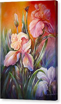 Canvas Print featuring the painting The Iris Of  Spring  by Patricia Schneider Mitchell