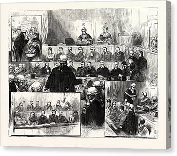The Irish Land League Trials At Dublin 1 Canvas Print by Irish School