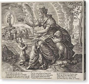 The Iron Age The Law Of The Grace Of The New Testament Canvas Print by Hieronymus Wierix And Pieter Balten
