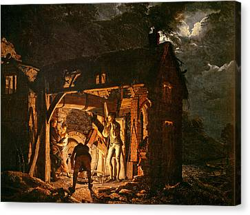 The Iron Forge Viewed From Without, C.1770s Oil On Canvas Canvas Print by Joseph Wright of Derby