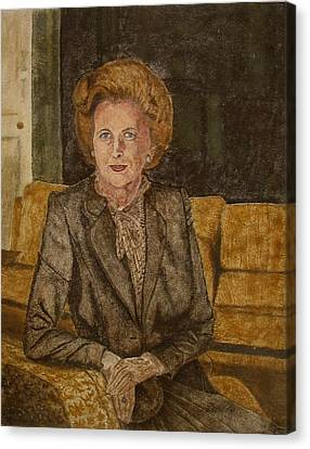 Mountain View Canvas Print - Portrait Of 'the Iron Lady' Using Natural Coloured Sands And Magnetised Iron Filings by Environmental Sandpainter and Sand Artist Brian Pike