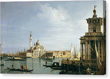 Custom House Tower Canvas Print - The Island Of San Giorgio Maggiore by Canaletto