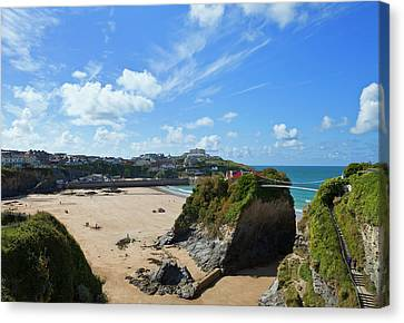 Sandy Beach Canvas Print - The Island On Towan Beach, Newquay by Panoramic Images