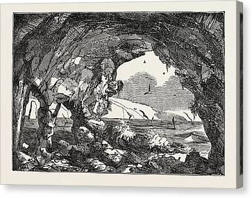 The Isle Of Wight Freshwater Cavern Canvas Print by English School