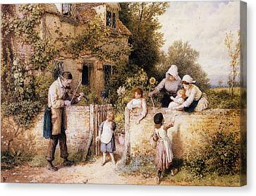 The Itinerant Fiddler Canvas Print by Myles Birket Foster