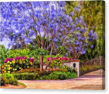 Canvas Print featuring the painting The Jacaranda by Michael Pickett