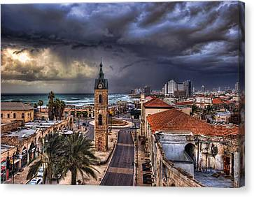 Canvas Print featuring the photograph the Jaffa old clock tower by Ronsho