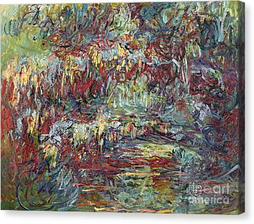Weeping Willow Canvas Print - The Japanese Bridge At Giverny by Claude Monet