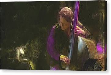 The Jazz Bassist Canvas Print by Michael Malicoat