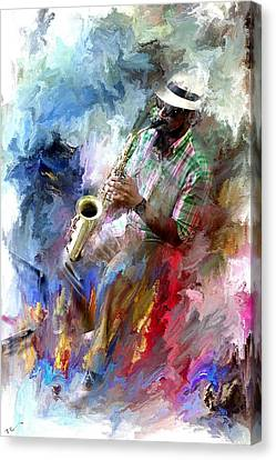 The Jazz Player Canvas Print by Evie Carrier