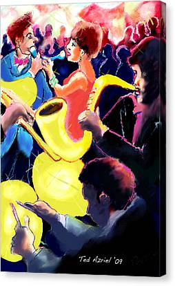 The Jazz Singers Canvas Print by Ted Azriel