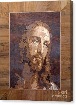 The Jesus Christ Marquetry Wood Work Canvas Print by Persian Art