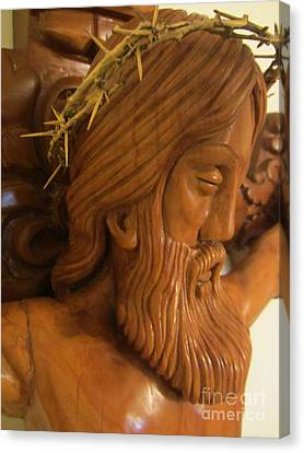 The Jesus Christ Sculpture Wood Work Wood Carving Poplar Wood Great For Church 2 Canvas Print by Persian Art