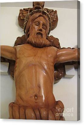 The Jesus Christ Sculpture Wood Work Wood Carving Poplar Wood Great For Church 4 Canvas Print by Persian Art