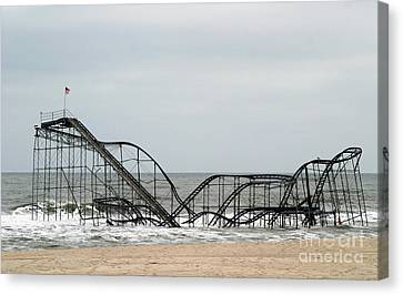 Jetstar Roller Coaster Canvas Print - The Jetstar Rollercoaster In Seaside Heights Nj by Living Color Photography Lorraine Lynch