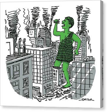 The Jolly Green Giant Walks Like Godzilla Canvas Print by Joe Dator