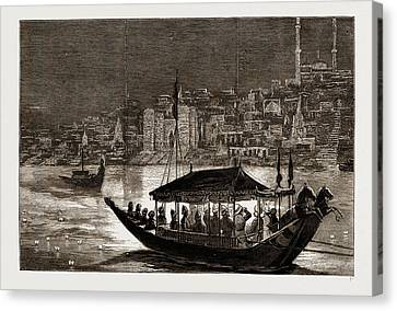 The Journey Up The Ganges, The Prince Of Wales In India Canvas Print by Litz Collection