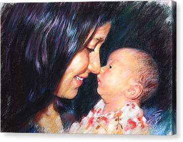 Canvas Print featuring the drawing The Joy Of A Young Mother by Viola El