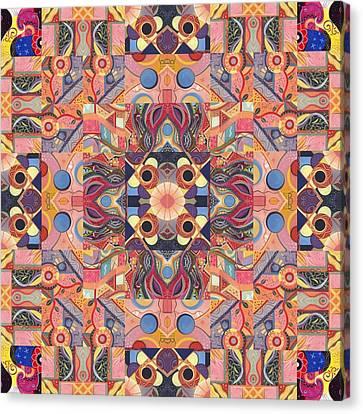 The Joy Of Design Mandala Series Puzzle 4 Arrangement 1 Canvas Print by Helena Tiainen