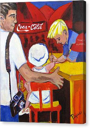 Canvas Print featuring the painting The Juandiced Eye Of Father And American Fare by Betty Pieper