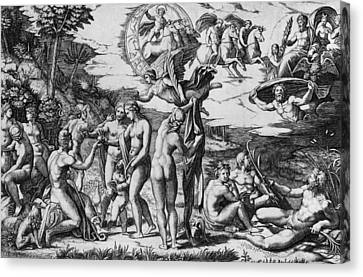 The Judgement Of Paris Canvas Print by Marcantonio Raimondi