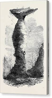 The Jug Rock In Southern Indiana 1869 Canvas Print by American School
