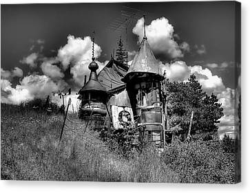 The Junk Castle In Black And White Canvas Print by David Patterson